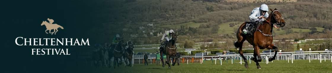 Riders on their horses racing around the Cheltenham race track