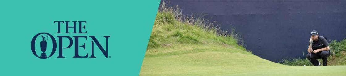 A banner featuring the coat of arms of the British Open and next to it is an image of a golfer examining the golf course