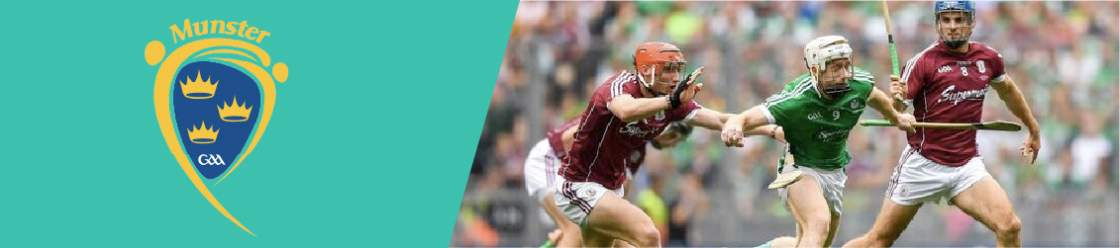 Original-banner-featuring-the-GAA-Munster-Hurling-Championship-coat-of-arms-next-to=an-image-of-Hurling-players-tackling-an-opponent