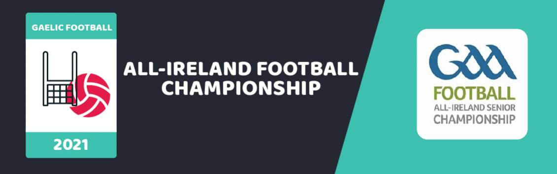 Original artwork featuring the words All Ireland Football Championship and imagery of a net and a ball  followed by the coat of arms of GAA Football Championship