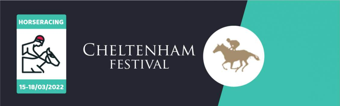 Original artwork featuring the words Cheltenham Festival and an animated rider on a horse followed by the coat of arms of Cheltenham Festival