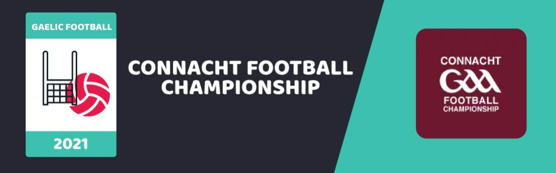 Original artwork featuring the words Connacht Football Championship and imagery of a net and a ball  followed by the coat of arms of Connacht GAA Football Championship