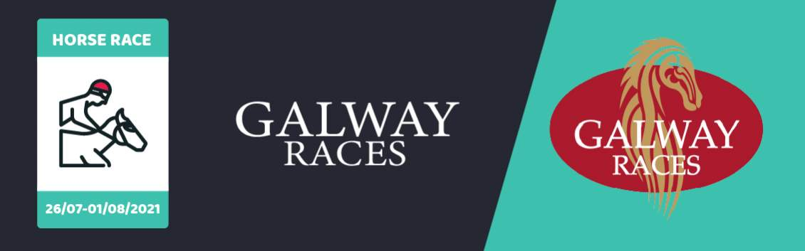"""Original artwork featuring a rider on a horse followed by the words """"Galway Races"""" and its coat of arms"""