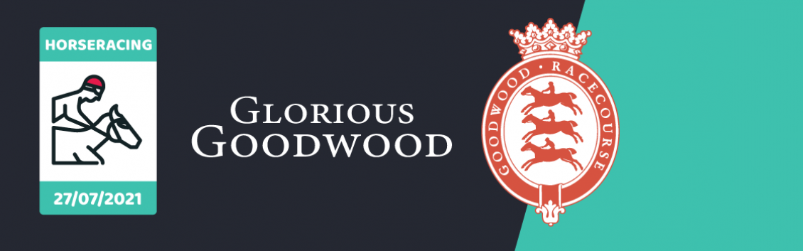Original artwork featuring the words Glorious Goodwood and an animated rider on a horse followed by the coat of arms of Goodwood