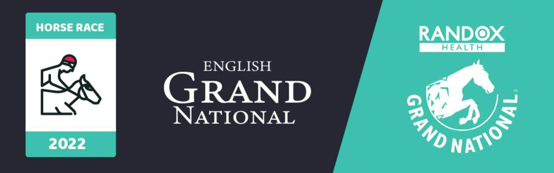 """Original banner featuring a jockey on a horse followed by the words """"English Grand National"""" next to the coat of arms of the event"""