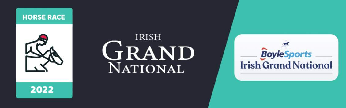 """Original banner featuring a jockey on a horse followed by the words """"Irish Grand National"""" next to the coat of arms of the event and the sponsor which is Boyle Sports"""