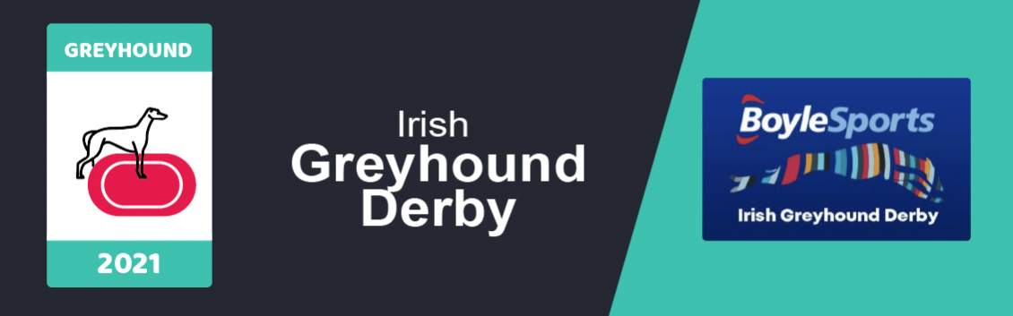 """original artwork featuring a Greyhound and a race track followed by the words """"Irish Greyhound Derby"""" next to the logo of the event"""