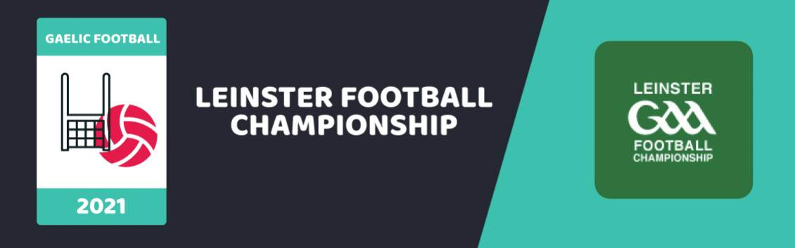 Original banner featuring a GAA football net and ball followed by the words Leinster Championship next to the coat of arms of the event