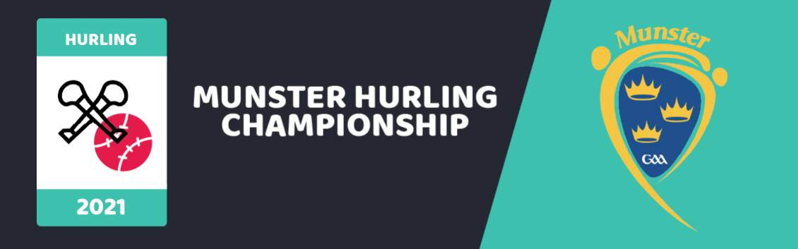 Original banner featuring a GAA football net and ball followed by the words Munster Hurling Championship next to the coat of arms of the event