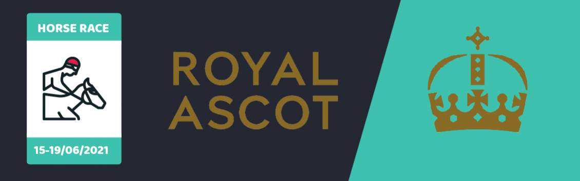 """Original banner featuring a jockey on a horse followed by the words """"Royal Ascot"""" next to the coat of arms of the event"""