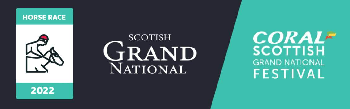 """Original banner featuring a jockey on a horse followed by the words """"Scottish Grand National"""" next to the coat of arms of the event and the event sponsor """"Coral"""""""