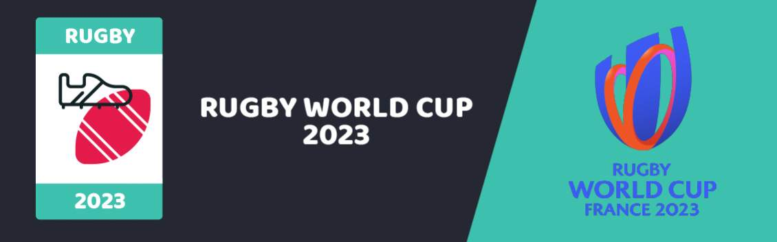 """Original banner featuring a rugby ball and boot followed by the words """"Rugby World Cup 2023"""" next to the coat of arms of the event and the event sponsor """"Coral"""""""