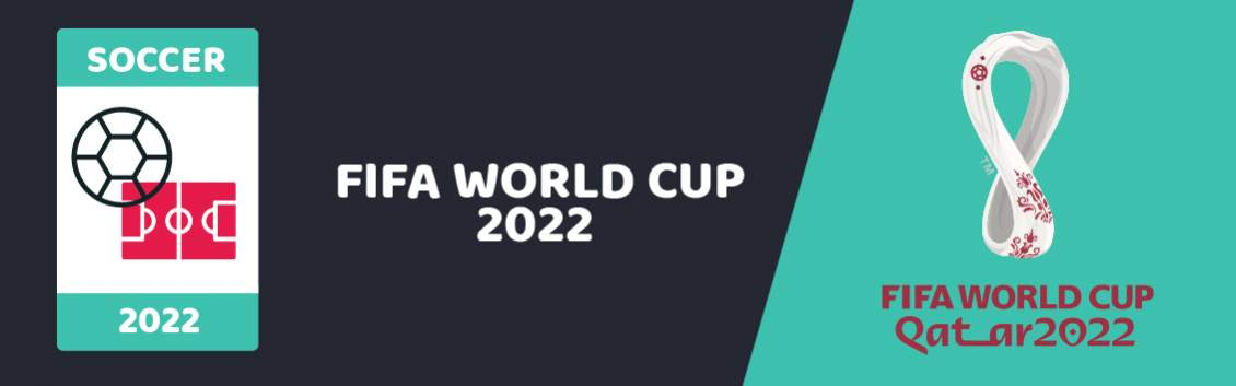 Original banner featuring a birds eye view of a football ground and ball followed by the words Fifa World Cup 2022 next to the coat of arms of the event